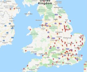 map of UK museum sites